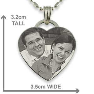 Dimensions of Rhodium Plate Drop Heart Photo Pendant