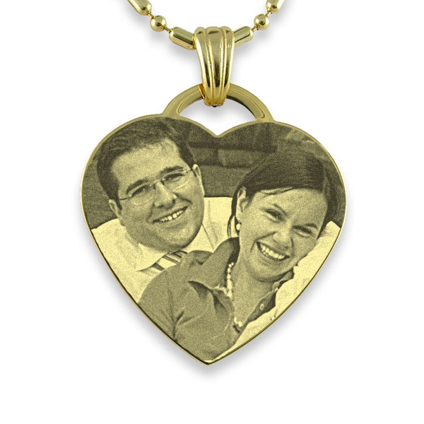 Gold Plate Drop Heart Photo Pendant