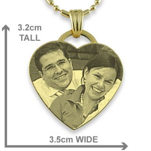 Dimensions of Gold Plate Drop Heart Photo Pendant
