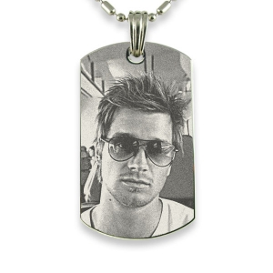 Rhodium Plate Large Portrait Photo Pendant