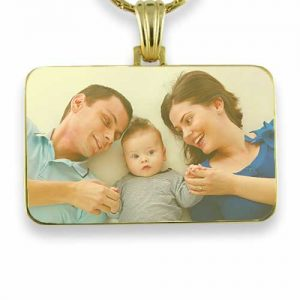 Gold Plated Colour Family Rectangle Photo Pendant