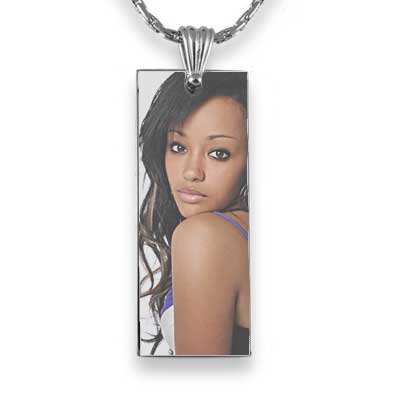 Long slim colour printed photo pendant
