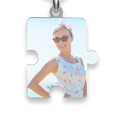 Rhodium Plated Printed Colour Jigsaw Puzzle Photo Pendant