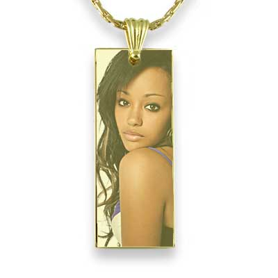 Gold Plated Colour Long Rectangle Photo Pendant