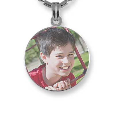Rhodium Plated Small Colour Disc