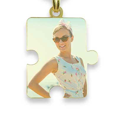 Gold Plated Colour Jigsaw Puzzle Photo Pendant