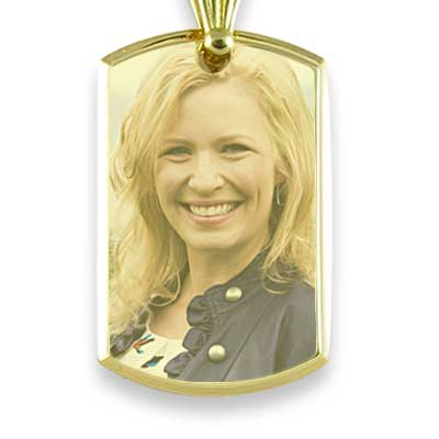 Gold Plate Large Deluxe Bevelled Colour Portrait Pendant