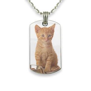 Rhodium PlateRhodium Plate Small DogTag Colour Photo Pendant