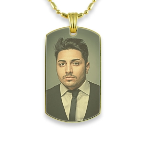 Gold Plated Medium Printed Colour Dog Tag Photo Pendant