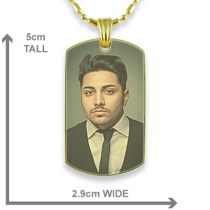 Dimensions Gold Plated Medium Printed Colour Dog Tag Photo Pendant