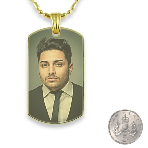 5p scale Gold Plated Medium Printed Colour Dog Tag Photo Pendant
