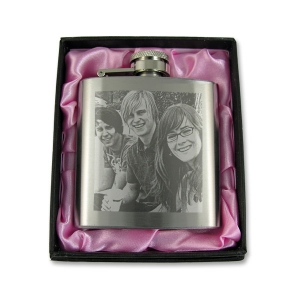 Photo Engraved 3oz Hip Flask with Gift Box