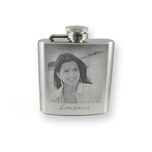 Personalised photo engraved 3oz hip flask