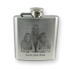 Personalised photo engraved 6oz hip flask
