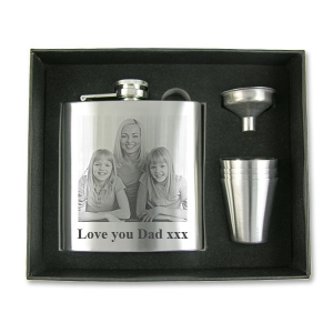 Photo Engraved 6oz Hip Flask with Tumblers