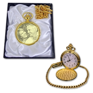 Gold coloured Photo Engraved Pocket Watch