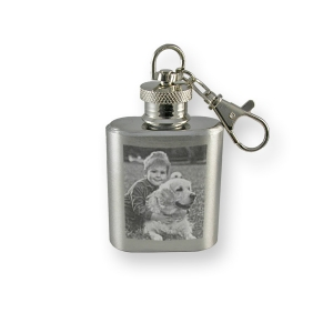 Personalised photo engraved key ring hip flask