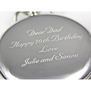 Silver coloured Photo Engraved Pocket Watch