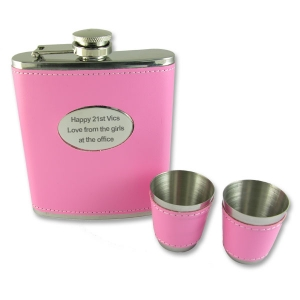 Personalised 6oz Pink Leather Bound Hip Flask