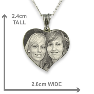 Dimensions of Rhodium Plated Medium Curved Heart Photo Pendant