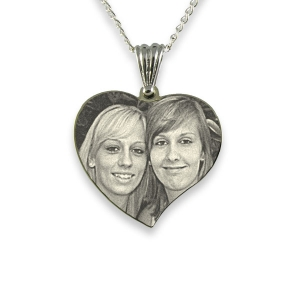 Rhodium Plated Medium Curved Heart Photo Pendant