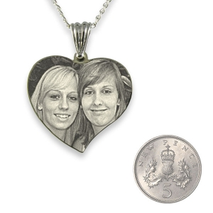 5p Scale of Rhodium Plated Medium Curved Heart Photo Pendant