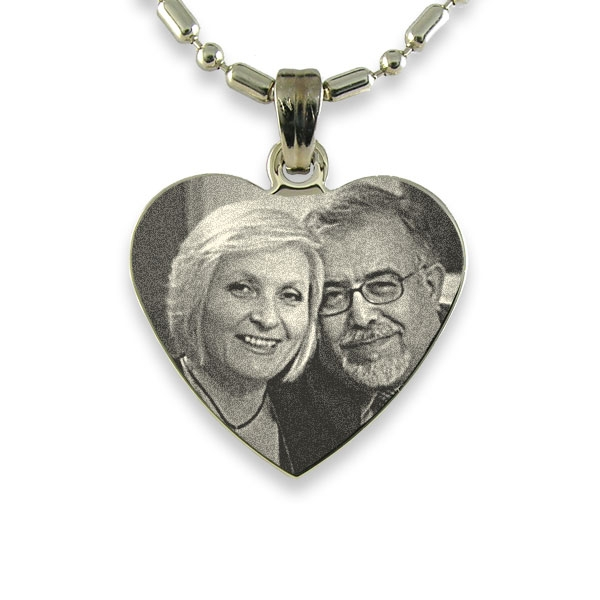 Rhodium Plated Medium Heart Photo Pendant