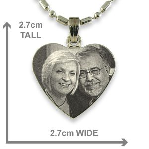 Dimensions of Rhodium Plated Medium Heart Photo Pendant
