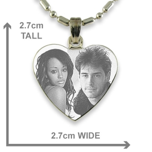 Dimensions Rhodium Plated Medium Heart Photo etched Pendant