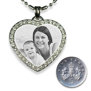 Rhodium Plate Diamante Photo Merged Heart