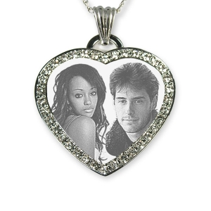 Rhodium Plate Diamante Photo Merged Heart