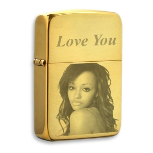 Gold Photo Engraved Lighter