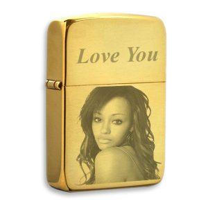 Gold Photo Engraved Lighter