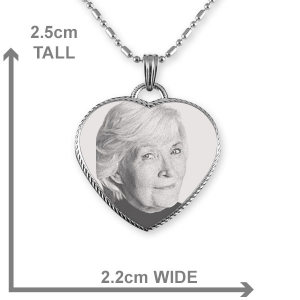 Dimensions Stainless Steel Rope Edged Heart Photo Pendant