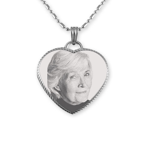 Engraved Face Stainless Steel Rope Edged Heart Photo Pendant