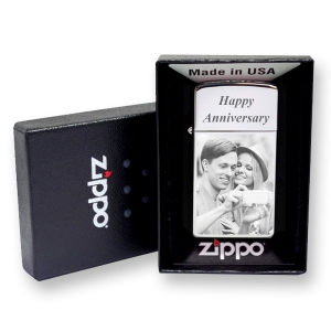 Chrome Photo Engraved Slim Zippo Lighter