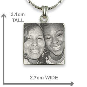 Dimensions Rhodium Plated Square Photo Merged Pendant