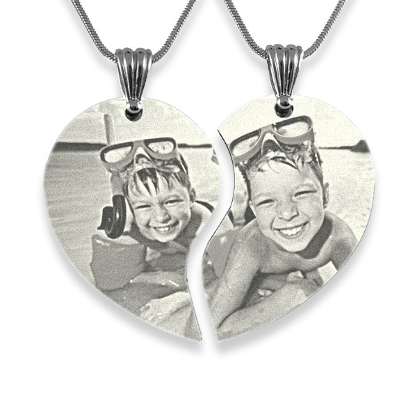 Wide Friendship Photo Engraved Pendant Heart