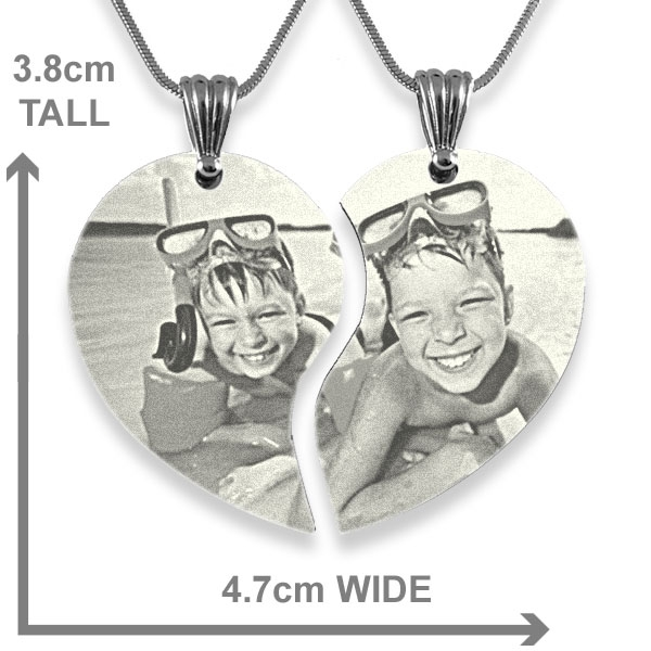Scale of Wide Friendship Heart Photo Engraved Pendant