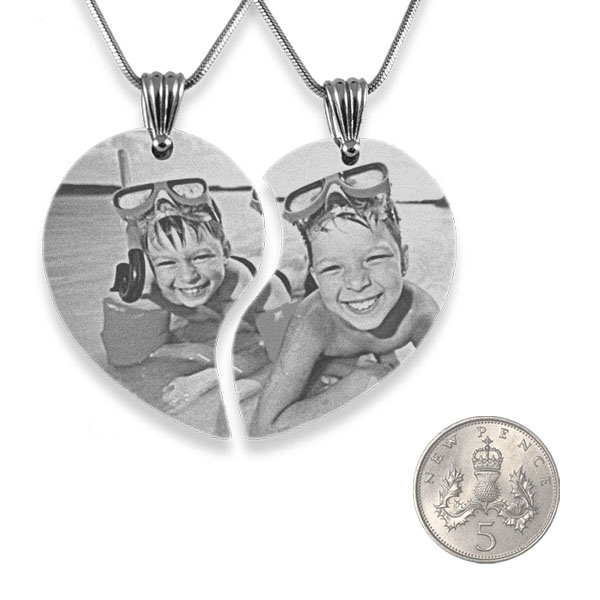 Wide Friendship Photo Engraved Pendant Heart with 5p scale