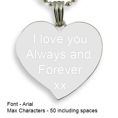 Engravable Back of Titanium Large Curved Heart