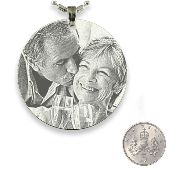 5p Scale of Rhodium Medallion Photo Pendant