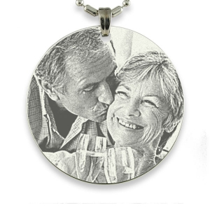 Rhodium Medallion Photo Pendant