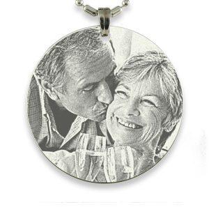 Rhodium Medallion Photo Pendant