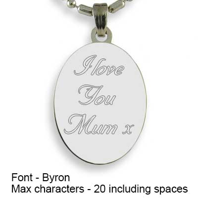Engravable Back of Silver 925 Mini Oval Photo Pendant
