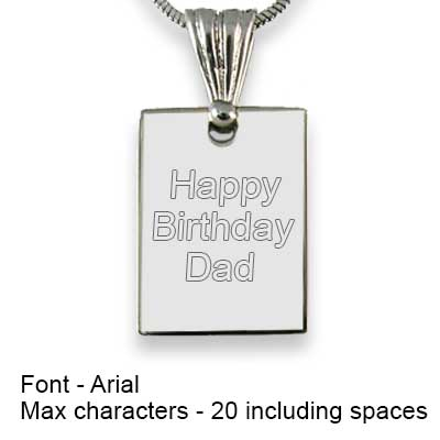 Engravable Back of Rhodium Plated mini Rectangle Photo Pendant