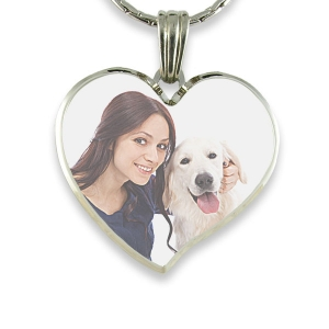Rhodium Plate Deluxe Bevelled Curved Large Colour Heart