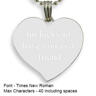 Engravable Back of Rhodium Plated Medium Curved Heart Photo Pendant
