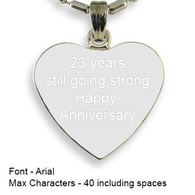 Engravable Back of Rhodium Plated Medium Heart Photo Pendant