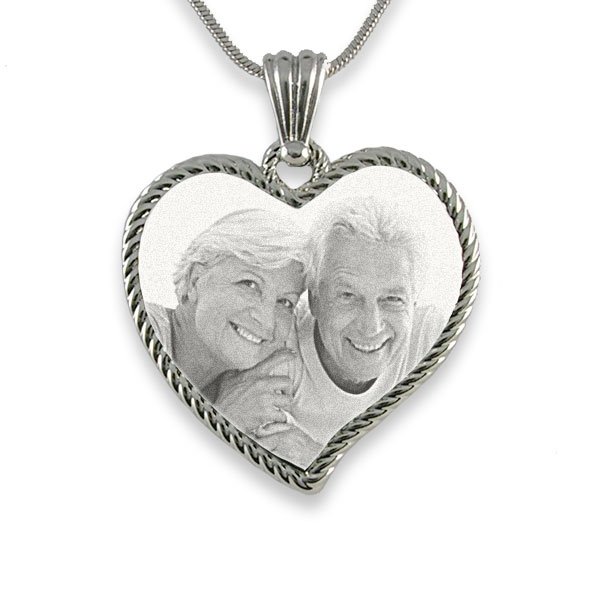 Rhodium Medium Rope Edged Curved Heart Photo Pendant
